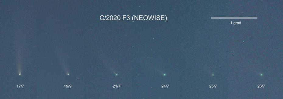 Bildserie av kometen NEOWISE