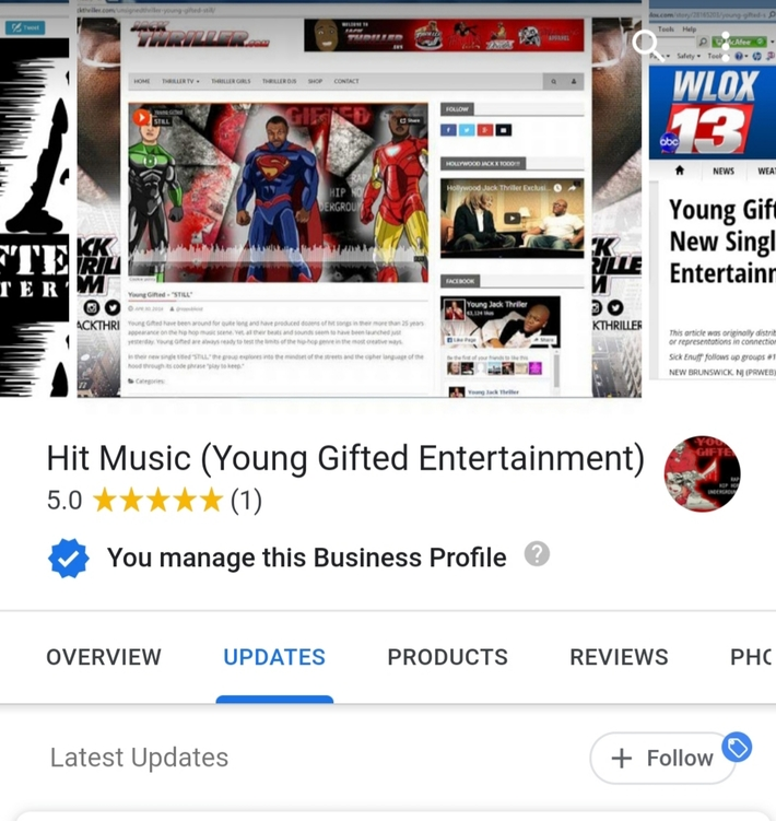 Young Gifted Entertainment Business Page