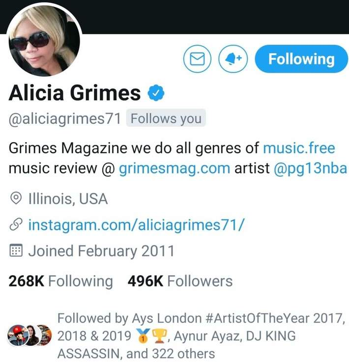 Alicia Grimes...Salute  Thx For All The Support!!