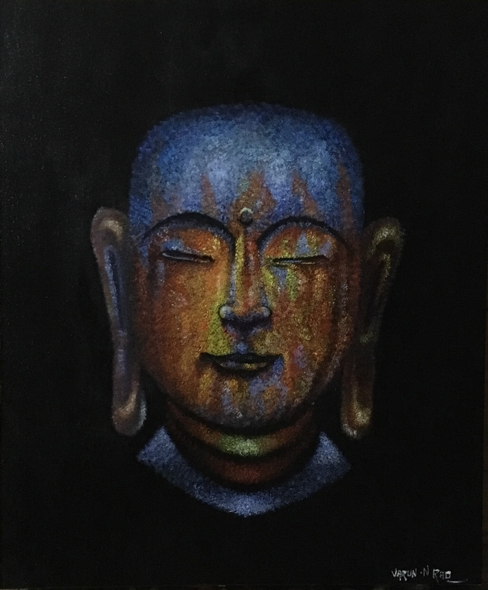 Stipling Acrylic Work - Buddha