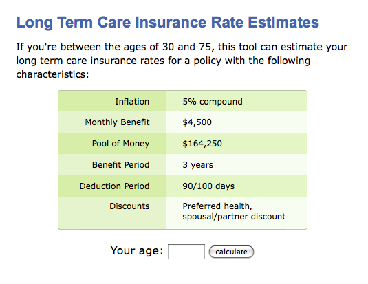 long term care insurance costs calculator