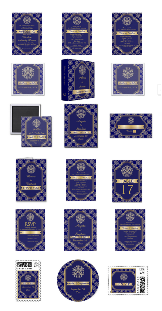 Elegant gold, snowflake, golden banner and navy blue frame wedding