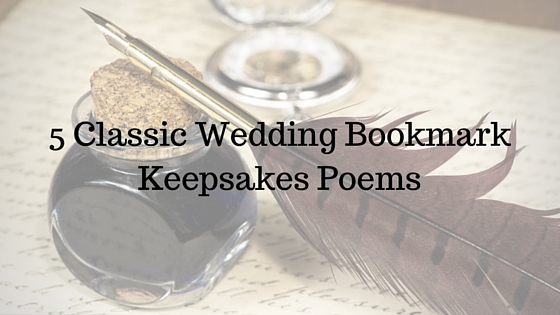 Wedding Bookmark Keepsakes Poems