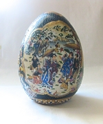 Vintage Chinese Ceramic Decorative Egg 6 1/2 inches Tall