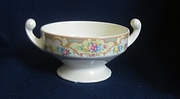 Antique Footed Ceramic Sugar Bowl With Intricate Floral Decoration