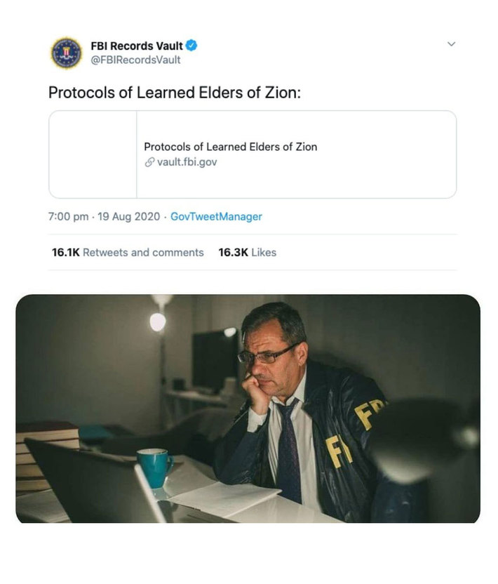 FBI Tweets The Protocols Of The Learned Elders Of Zion