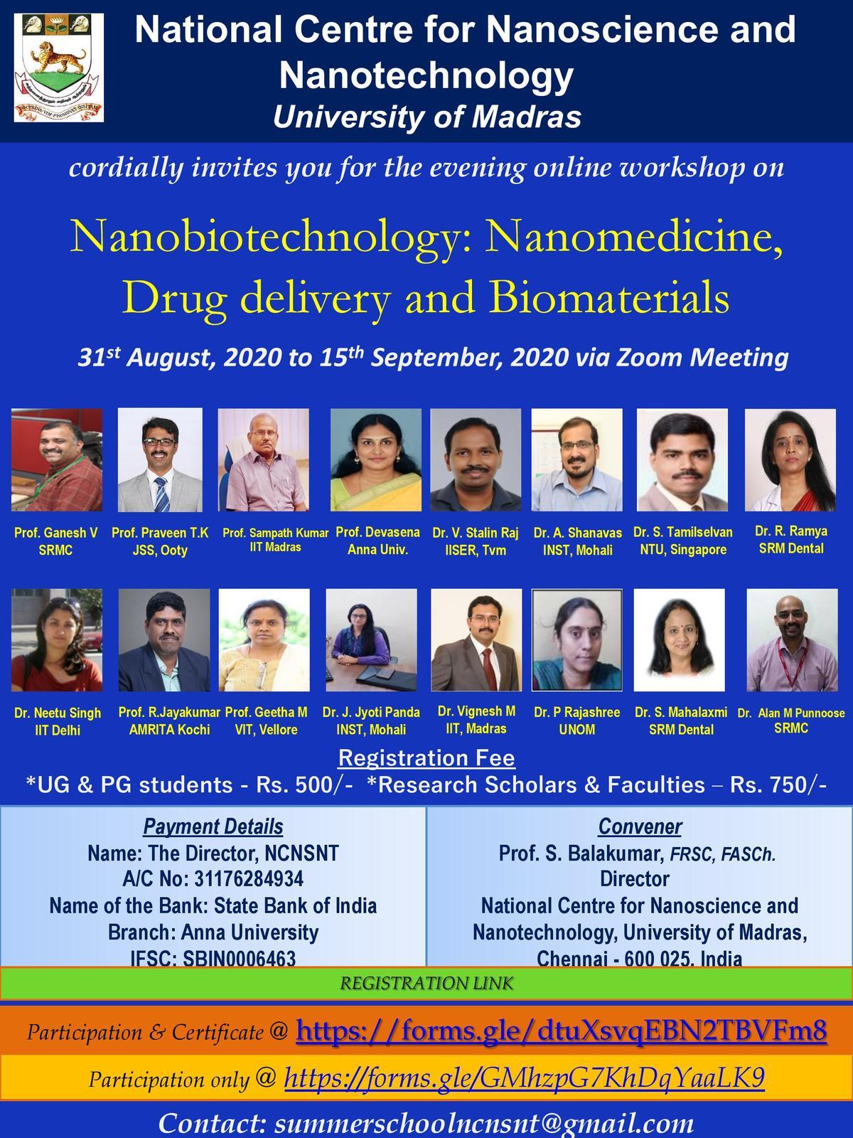 Online Workshop on Nanobiotechnology:Nanomedicine, Drug delivery and Biomaterials