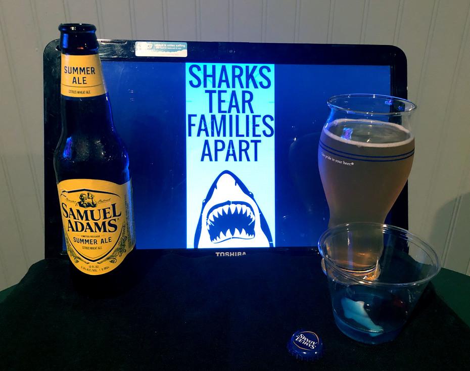 Celebrating Shark Week 2020 with a Sam Adams Summer Ale and a Shark Attack Jell-O shot.
