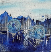 Lebenslinien blau 40x40cm