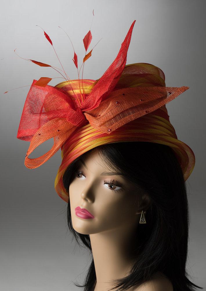 Orange and yellow crinoline Hat