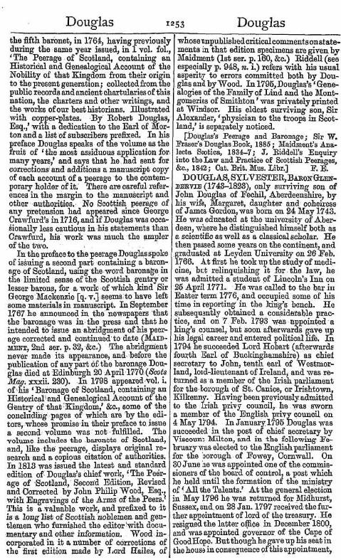 SYLVESTER DOUGLAS Baron Glenbervie 1st and last 1743 1823