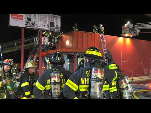 Firefighters battle 2 alarm fire at the Blinds-To-Go store in Whitehall, Pennsylvania