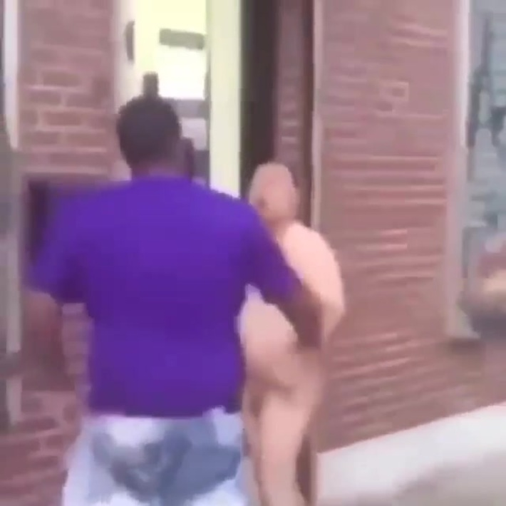 Naked man gets into a fight