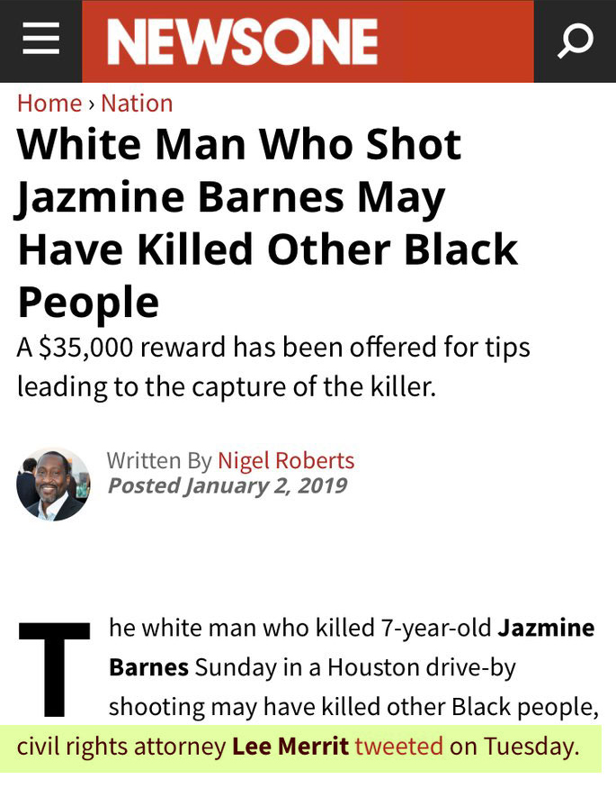 White Man Who Shot Jazmine Barnes May Have Killed Other Black People