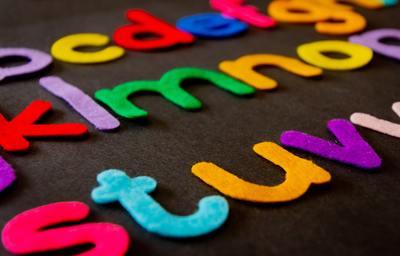 close-up of felt alphabet letters