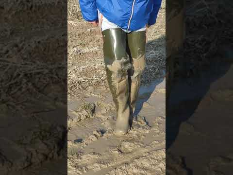 Splashing in the mud with hip waders