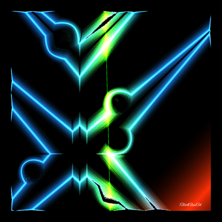Lasers 02 ,canvas, signed