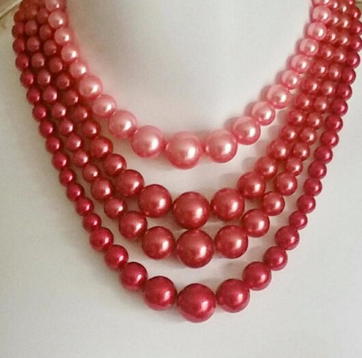 Vintage multi-strand faux pearl beaded necklace