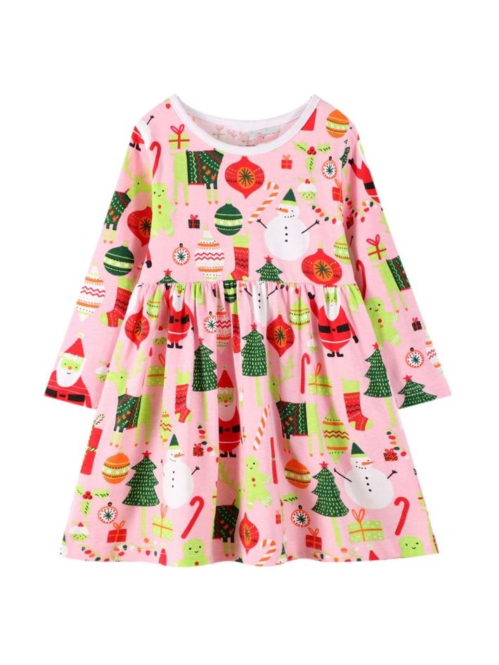 kiskissing wholesale kid girl xmas print dress