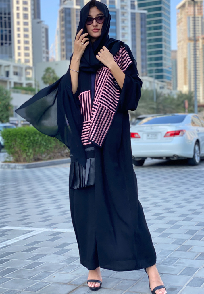 Black Abaya with Pink Embroidered Panels | Buy Abaya Online