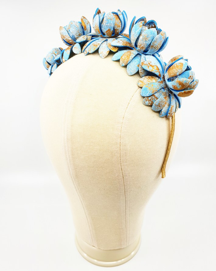 Sky blue, white and gold foam flower crown