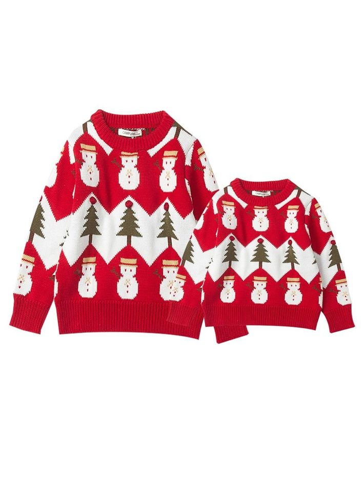 kiskissing Wholesale Mommy and Me Christmas Tree Snowman Crochet Sweater