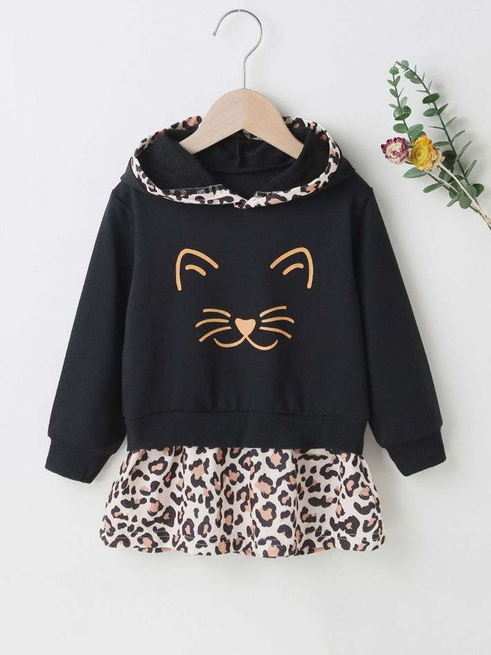 kiskissing Wholesale Kid Girl Leopard Hooded Sweatshirt Dress 2012