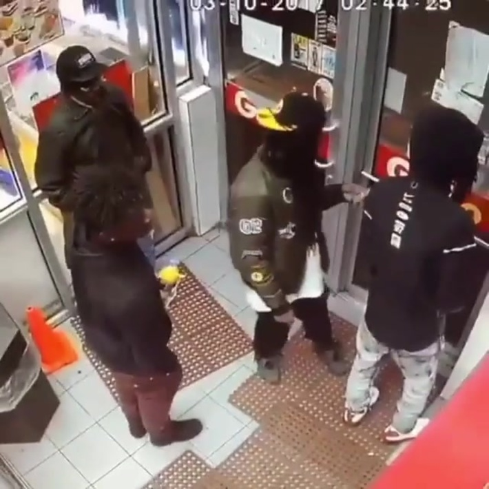 Guy uses his friend as a shield