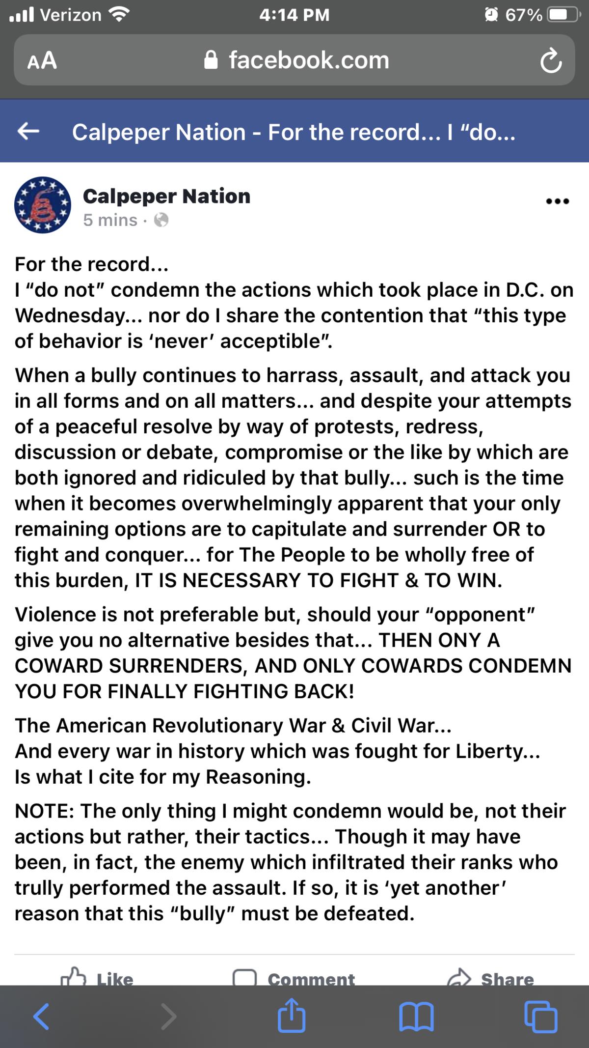 """I Do Not Condemn """"the D.C. revolt""""..."""