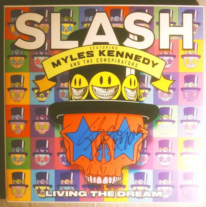 Slash signed Living The Dream LP