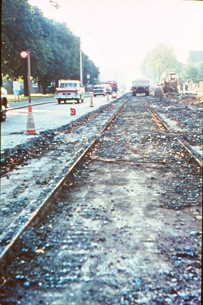 Wood Green Bounds Green Road September 1965 Digging up tram lines