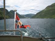 Postflagget på plass på MS Granvin