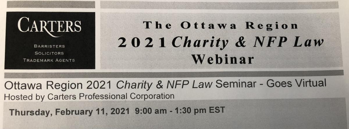 Charity Law Seminar Today - Ottawa