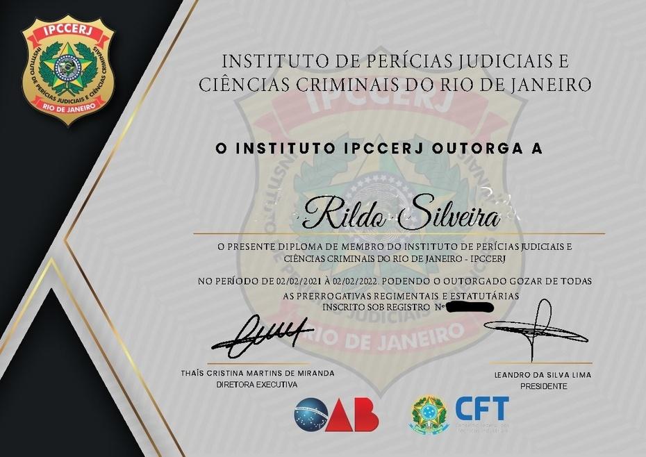 DIPLOMA DE MEMBRO DO IPCCERJ - INSTITUTO DE PERÍCIAS JUDICIAIS E CIÊNCIAS CRIMINAIS DO RIO DE JANEIRO