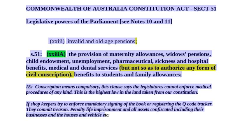 Penalties for conscription ( Mandatory measures )  Australian Commonwealth Constitution.
