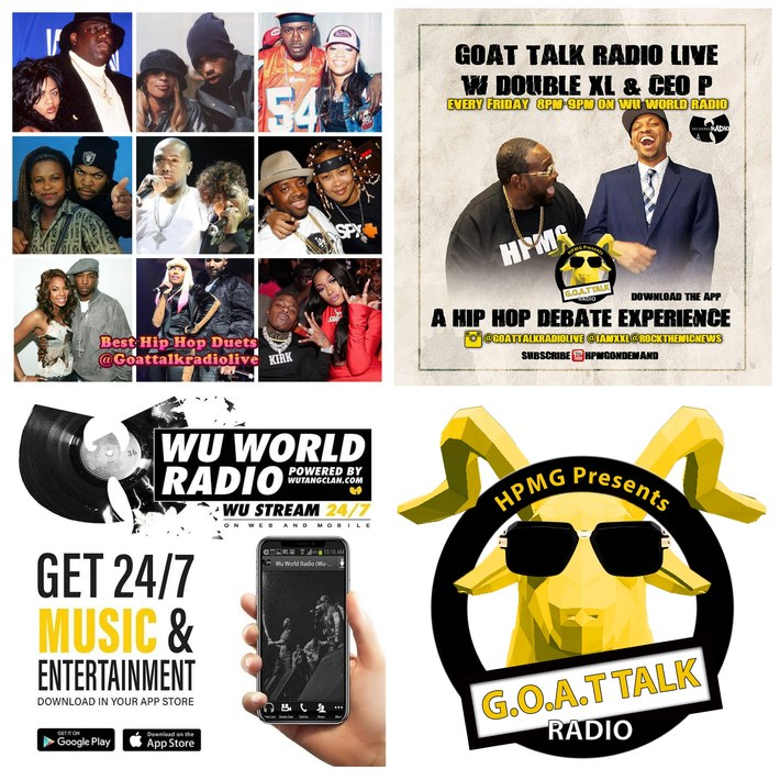 Which Hip Hop Duets Made the Best Songs? Hosted by @iamxxl x @rockthemicnews!! Special Guest@Phakeem x@iambeckg_va of the@thevinylwordshow Tune on Friday @ 8pm @goatalkradiolive on @Wuworld! GOATT