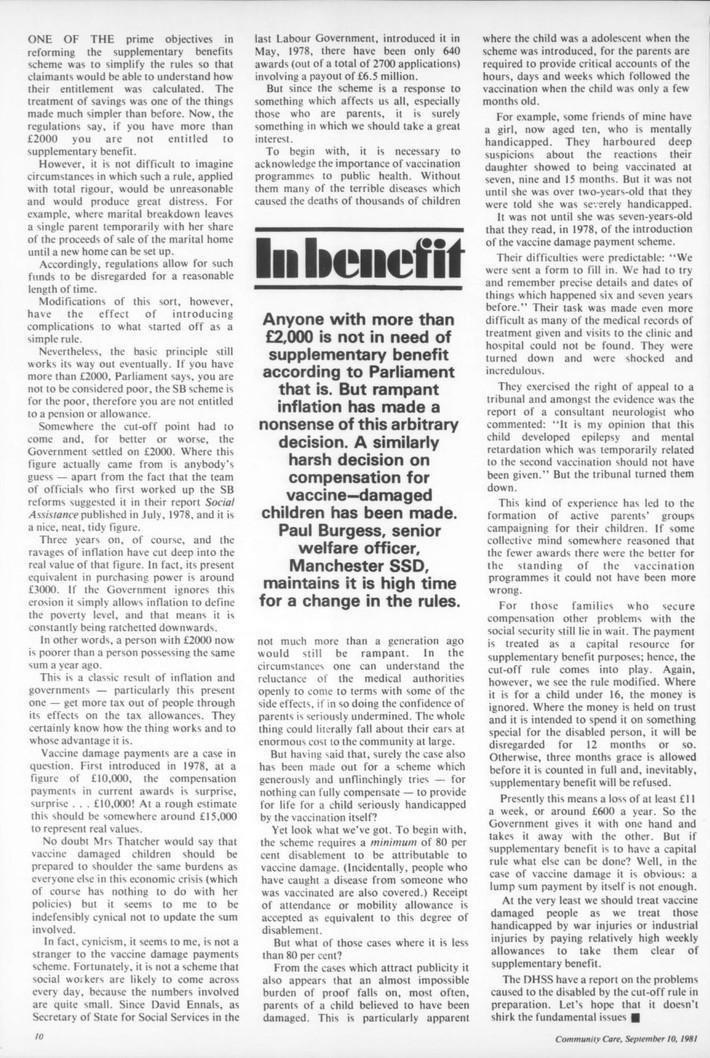 UK -Community Care Magazine - 1981, Vaccine Damage