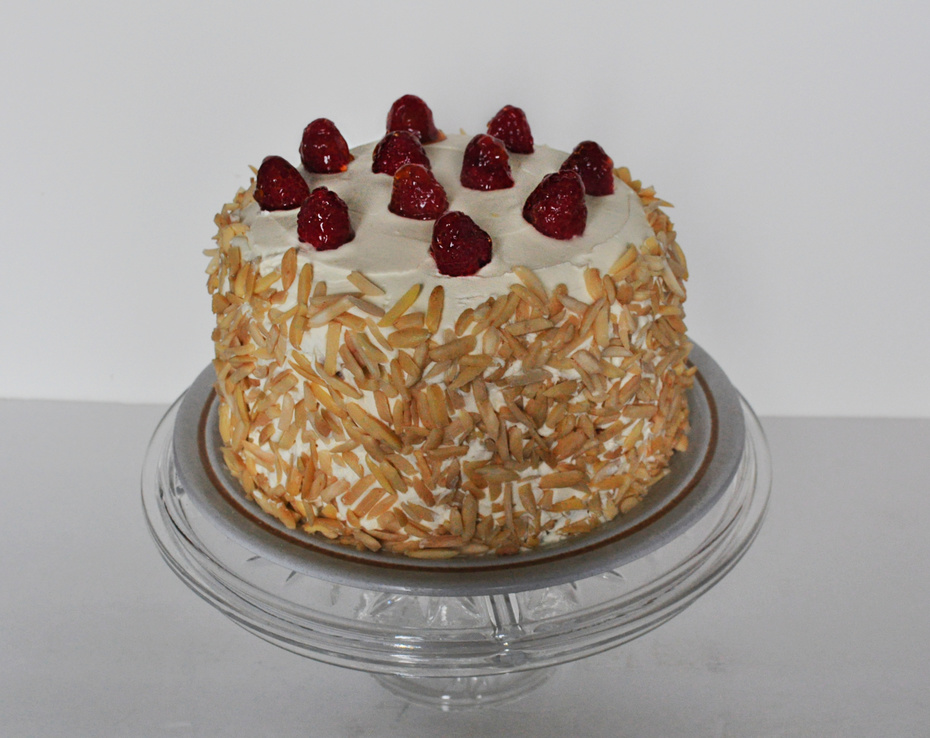 White Chocolate Almond Raspberry Cake