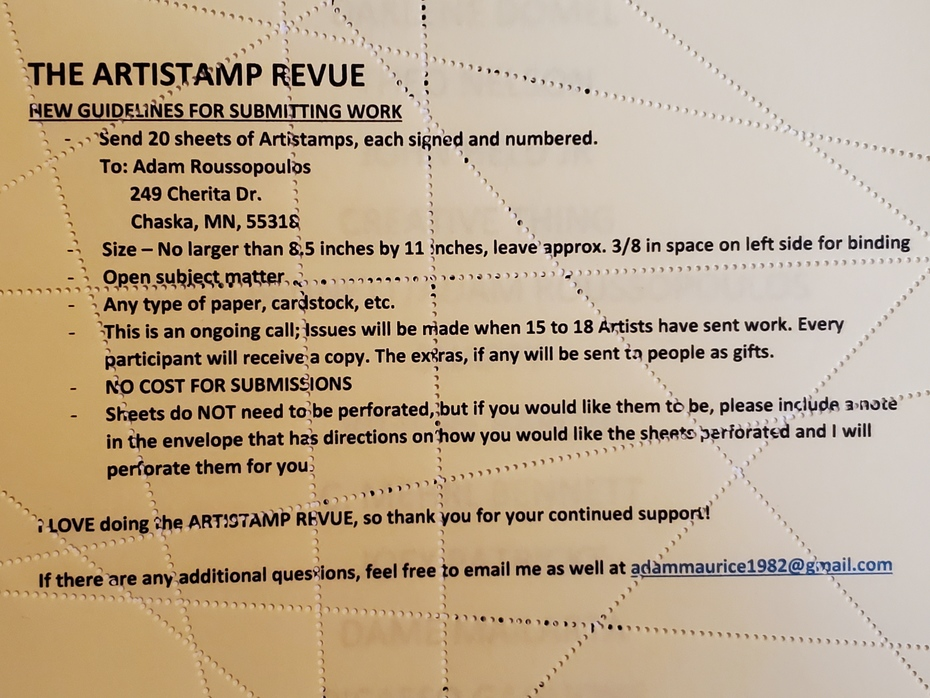 Artistamp Revue call for art