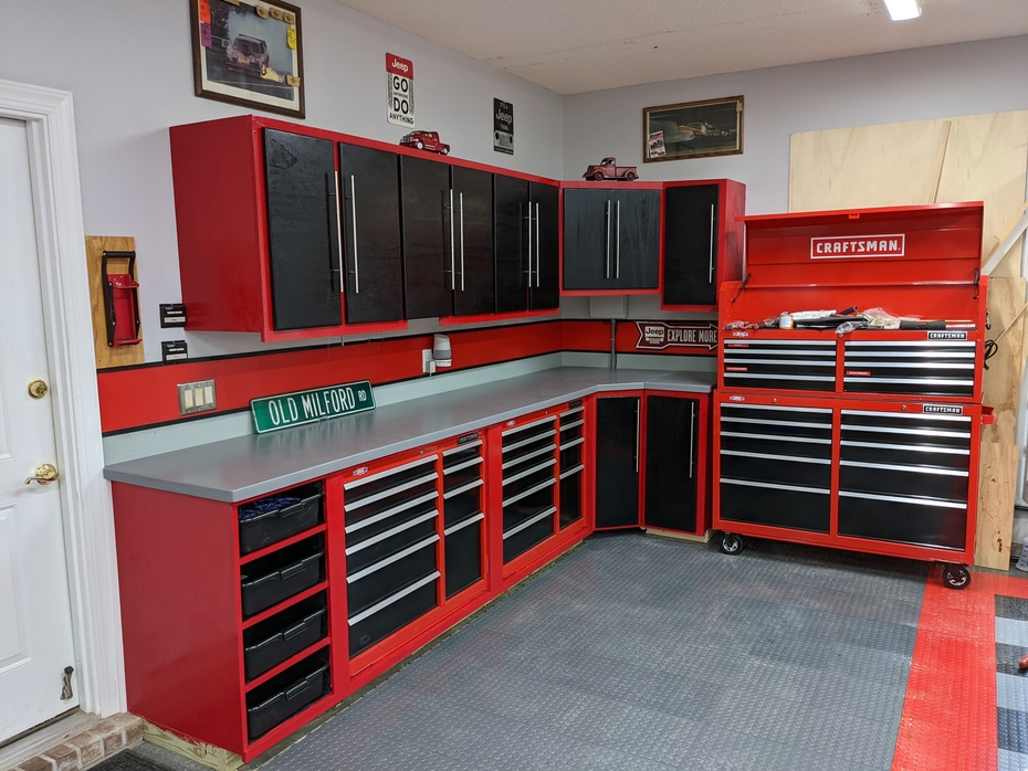 Large Bench - Right side of garage