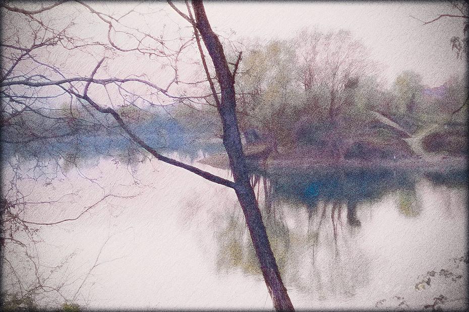 Il tramonto al lago