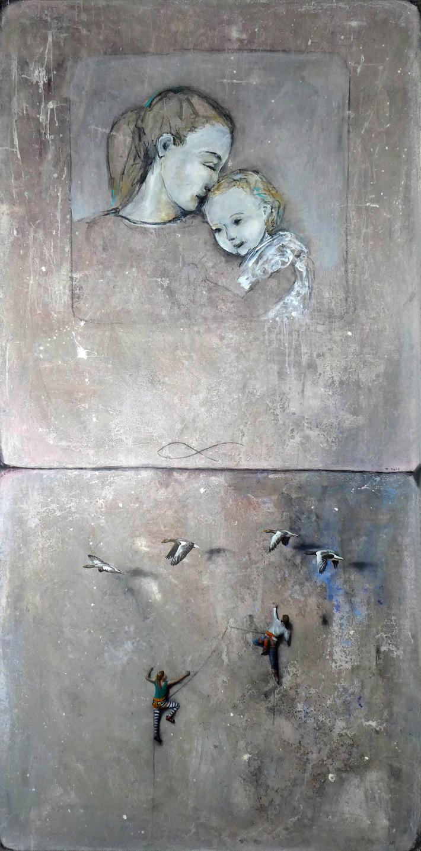 Immer und Ewig, 2020, Öl auf Acryl,200 x 100 cm Zusammenarbeit mit HOLT, aus der Werkreihe Generationen