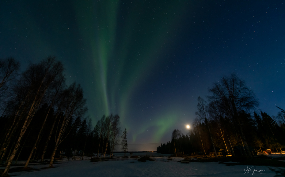 Norrsken över Gussö och Furufjärden