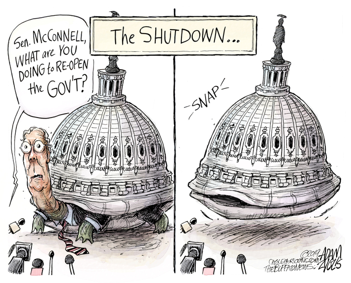 "The SHUTDOWN... (Mitch McConnell as a turtle, with webbed green hands and feet, the Capitol dome as his shell; a reporter asks) ""Sen. McConnell, what are you doing to re-open the government?"" (Next frame: McConnell has withdrawn into his shell, which has shut with a SNAP.)"