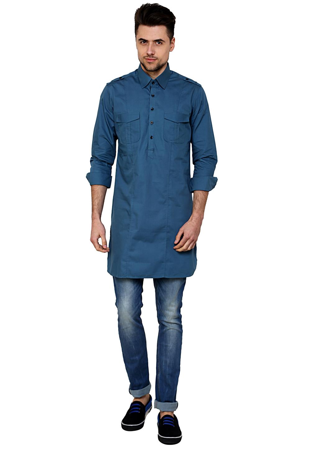 Blue Cotton Readymade Kurta