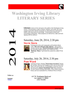 Stevie Stern at LAPL Washington Irving Branch, 2014 Literary Series