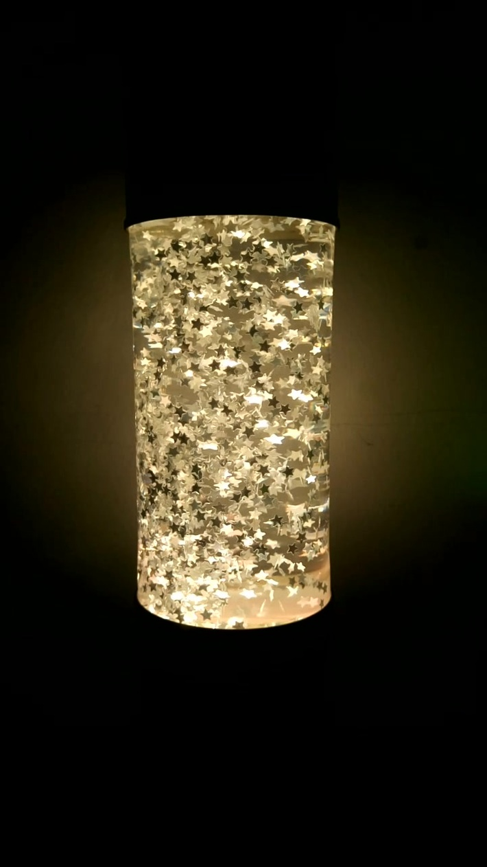 Home Made Glitter Lamp Finish