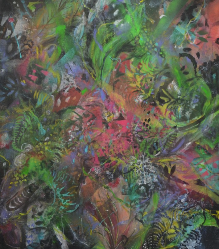 paradise garden 2021 Acryl auf Leinwand 110x100