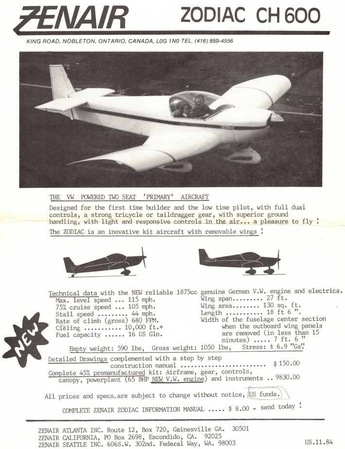 Zenair CH600 early flyer (seemingly 1984)