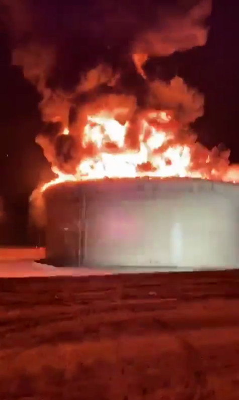 Israel - May 11th, 2021 - Eilat Ashkelon Pipeline Company Depot Hit by Gaza Rocket Causing Massive Wild Fire